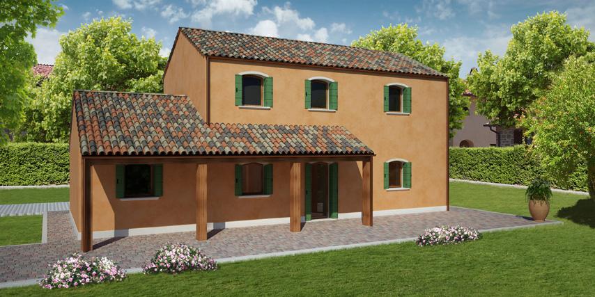 Modello burano 122 m2 casa in legno con tetto a 2 falde for Piani di fattoria con portico