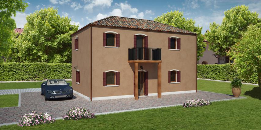 Modello giudecca 122 m2 casa in legno con tetto a 4 for Aggiunte garage alle case