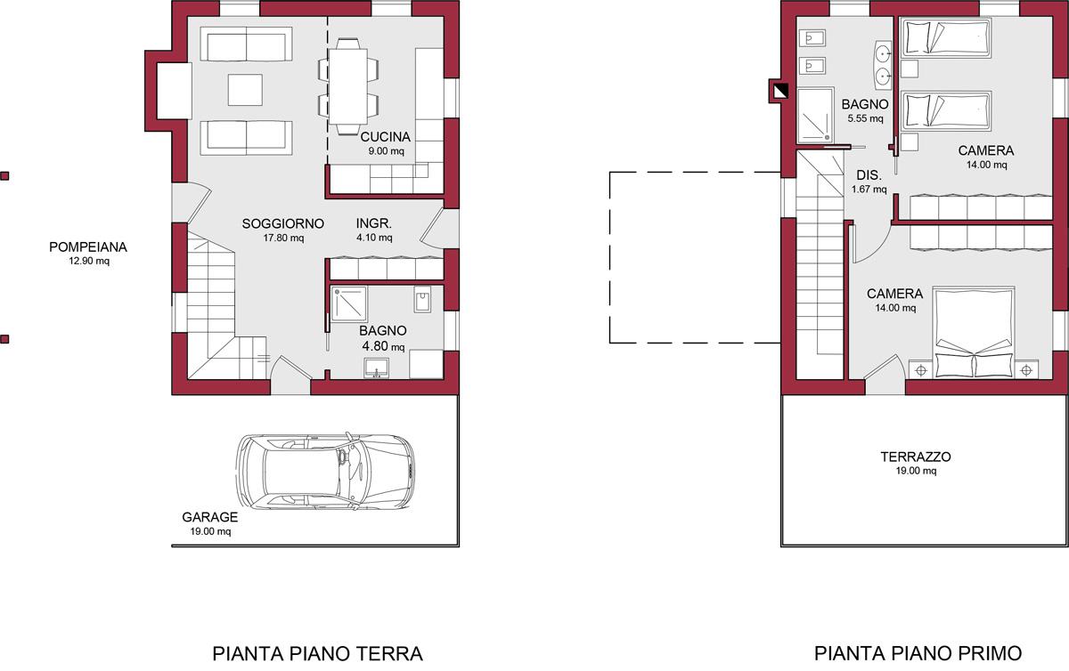 Modello murano 100 m2 casa in legno con tetto a 4 falde for Casa moderna pianta
