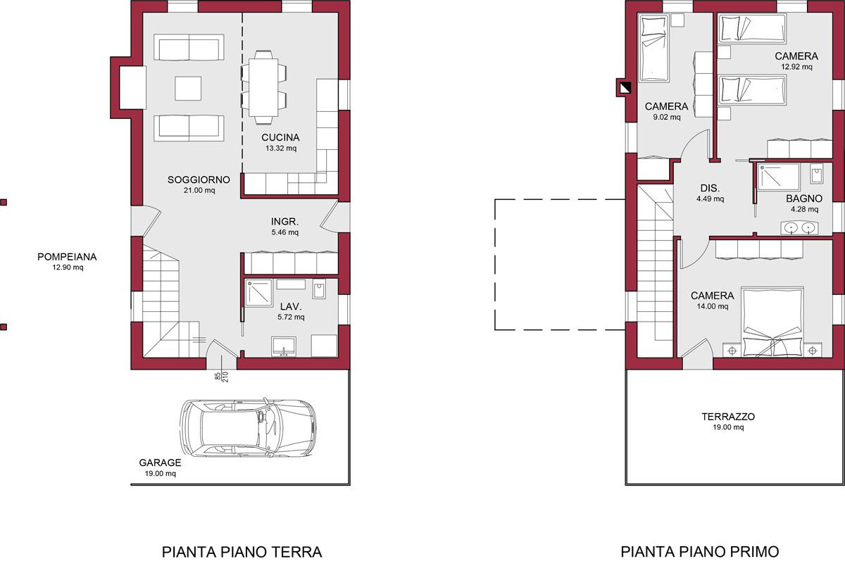 Modello burano 122 m2 casa in legno con tetto a 2 falde - Progetto casa 80 mq ...