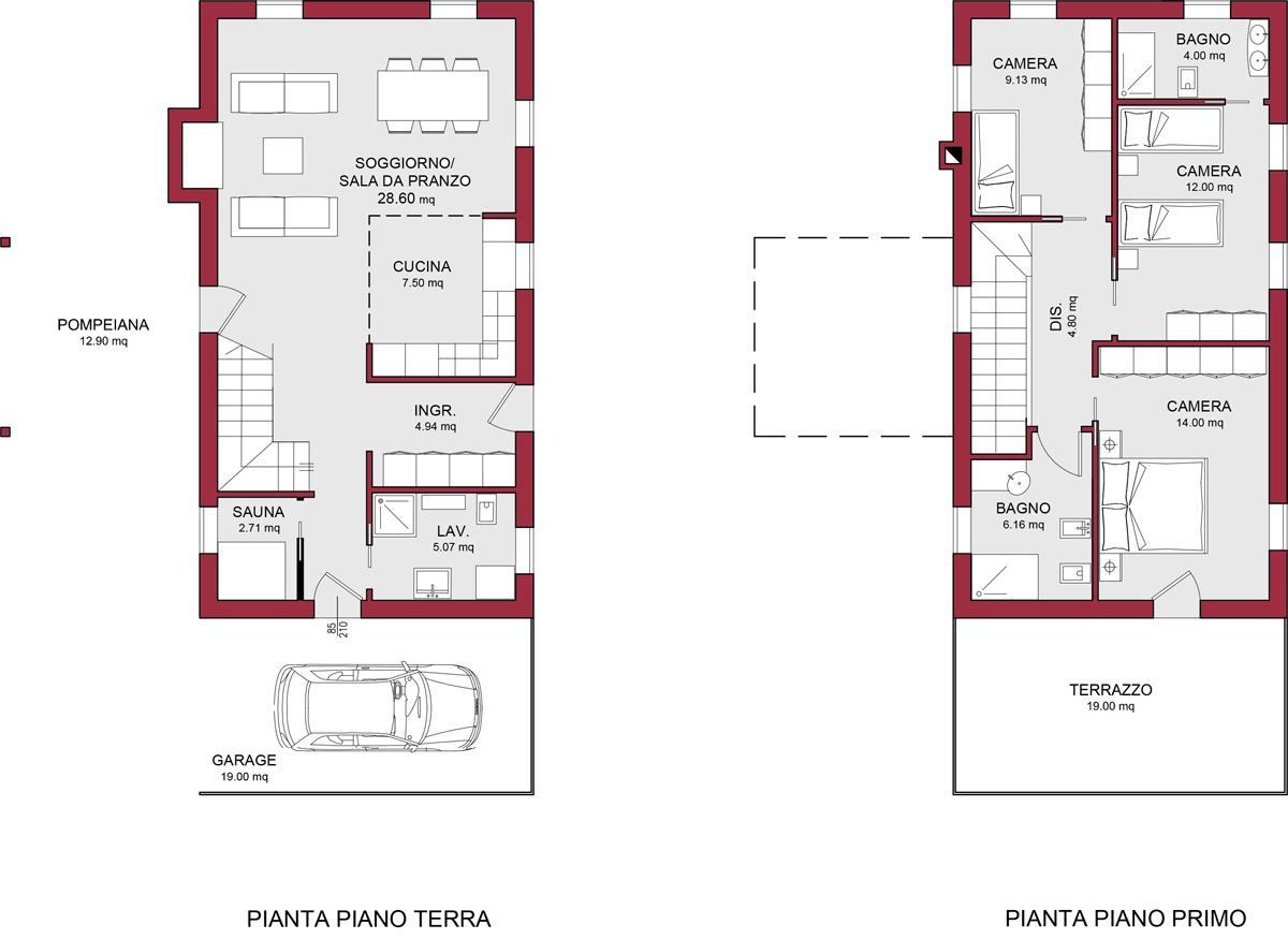 Modello canaletto 135 m2 casa in legno con tetto a 4 for 6 piani di casa con 4 bagni