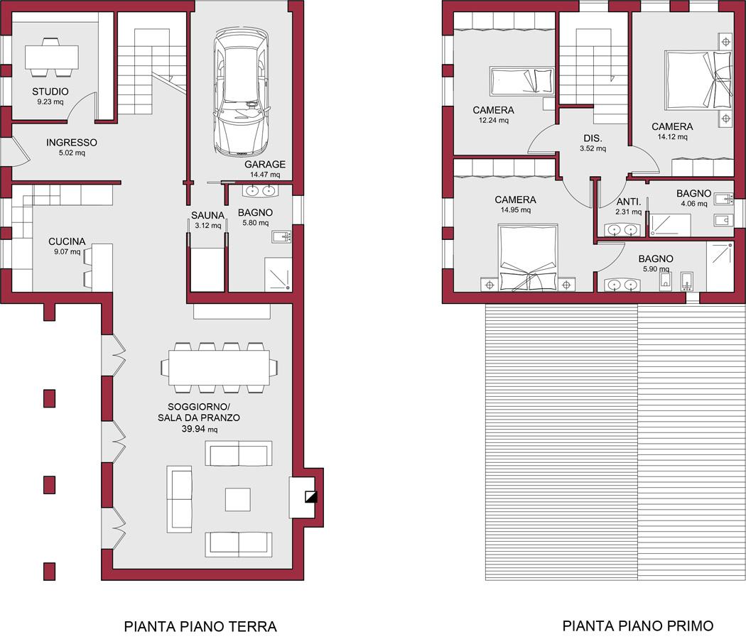 Modello doge 200 m2 casa in legno con tetto friuli o a for Planimetrie della casa senza garage