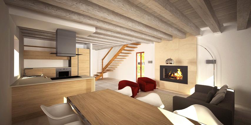 modello burano 122 m2 | casa in legno con tetto a 2 falde a ... - Soggiorno Cucina Con Camino 2