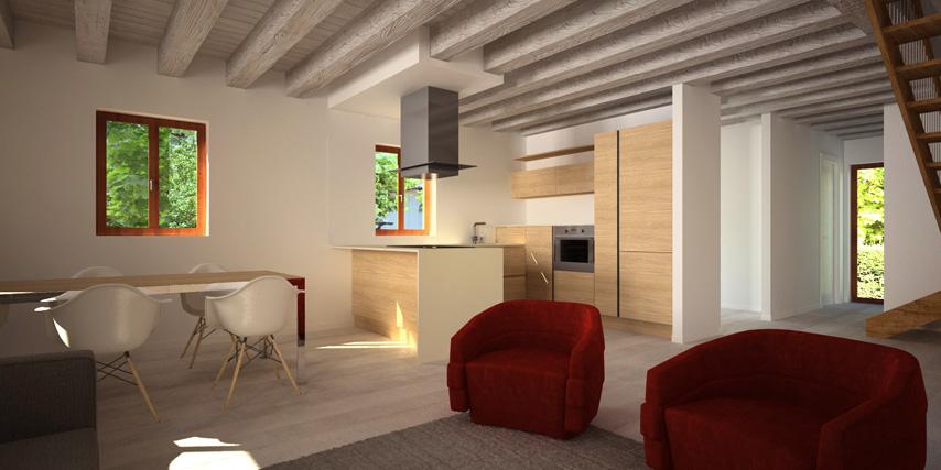 modello burano 122 m2 | casa in legno con tetto a 2 falde a ... - Soggiorno Living Con Cucina A Vista 2