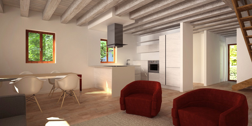 Modello giudecca 122 m2 casa in legno con tetto a 4 for Casa moderna con tetto in legno