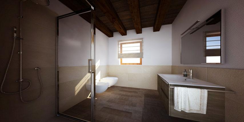 bagno con travi in legno  avienix for ., Disegni interni