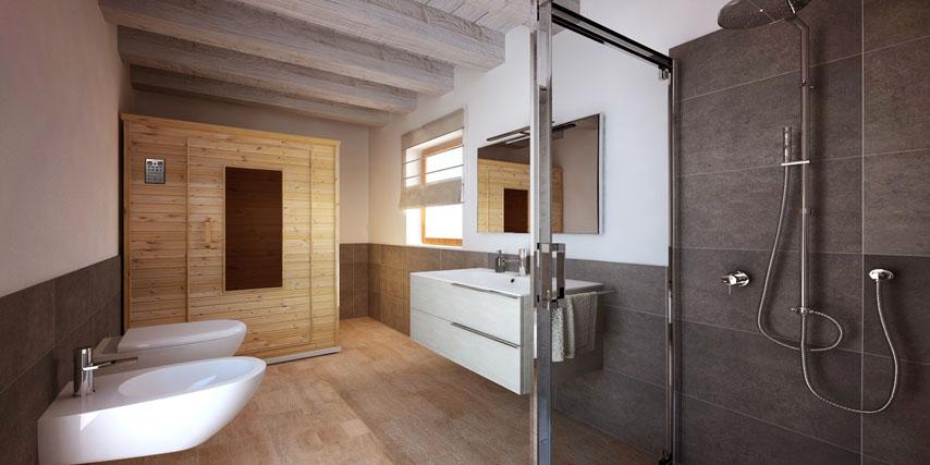 Bagni Rivestiti In Legno: Rivestimenti bagno moderno: moderno grigio e legno avienix.