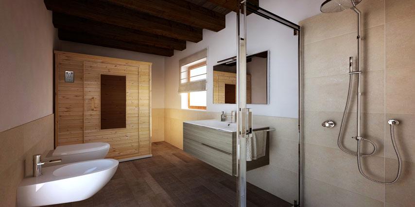 Modello marina 135 m2 casa in legno con tetto a 2 falde for 2 piani letto 2 bagni
