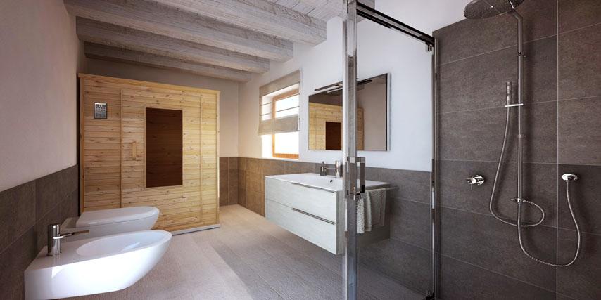 un grande salotto con soffitto inclinato travi in legno a vista e ...
