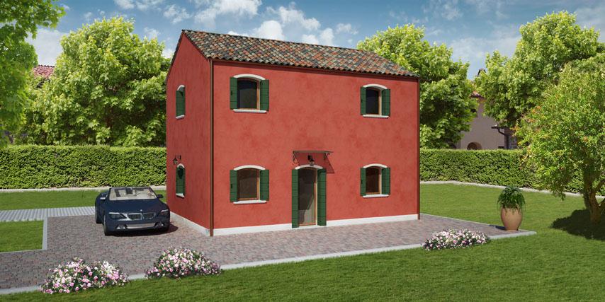 Modello pellestrina 100 m2 casa in legno con tetto a 2 for Casa in legno 100 mq