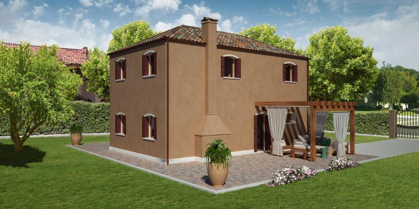 Modello giudecca 122 m2 casa in legno con tetto a 4 for Colore esterno casa moderno