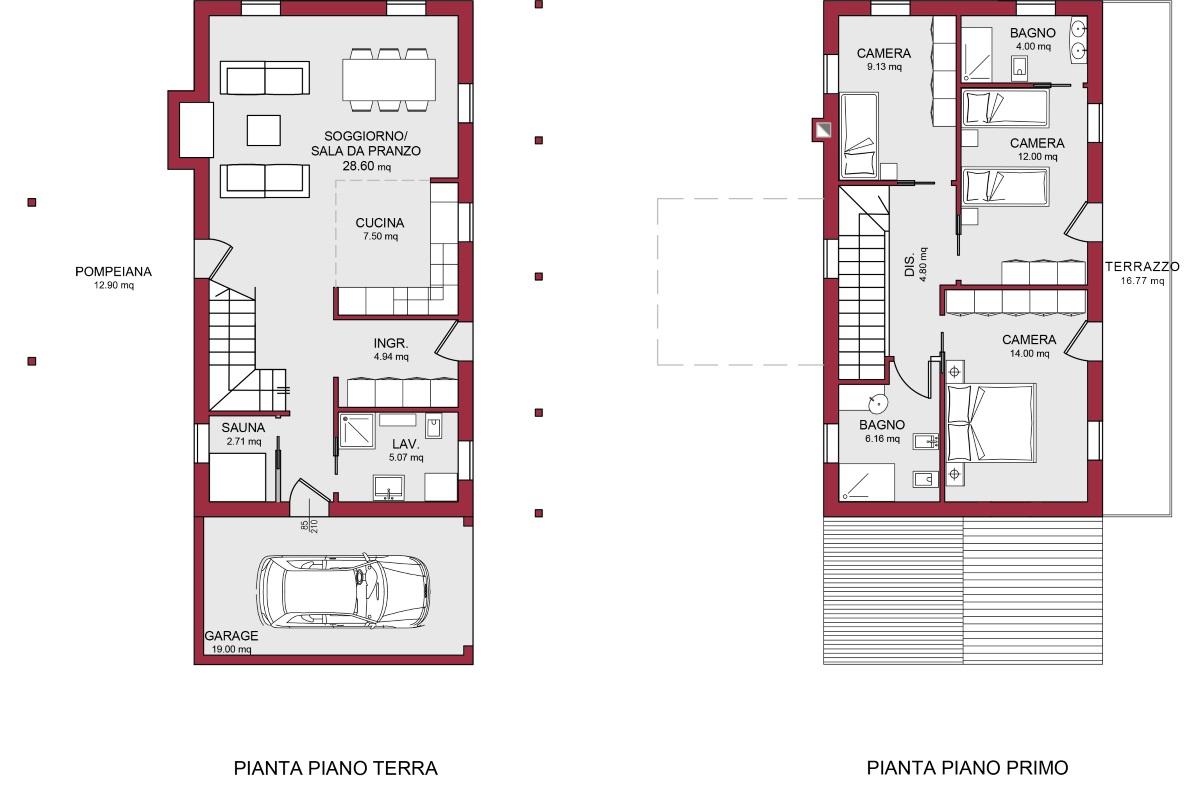 Modello marina 135 m2 casa in legno con tetto a 2 falde for Progetto casa in legno
