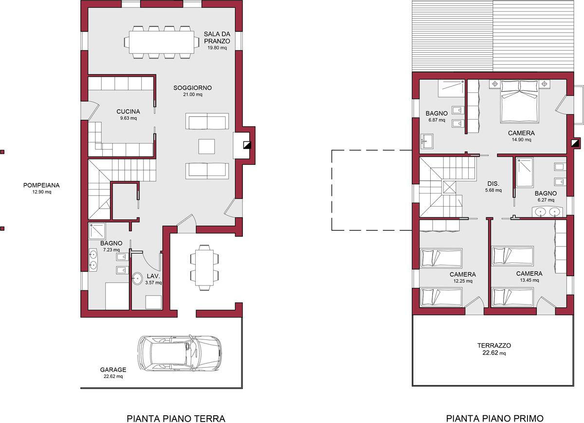 Modello riviera 170 m2 casa in legno con tetto a 2 falde for Planimetria di una casa